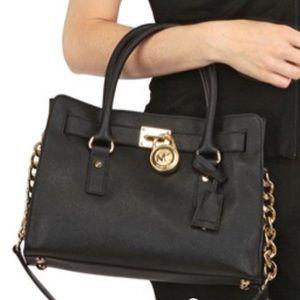 Rare❗️Michael Kors Black and Rose Gold satchel